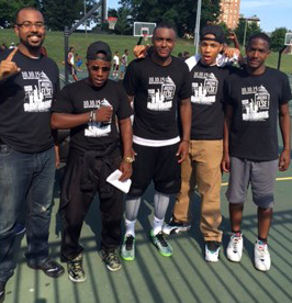 From left to right: Anthony Pena, Matthew Muhammad, Jihad Muhammad, Isaiah Muhammad, Rasheed Muhammad pose during Ballin' for Justice