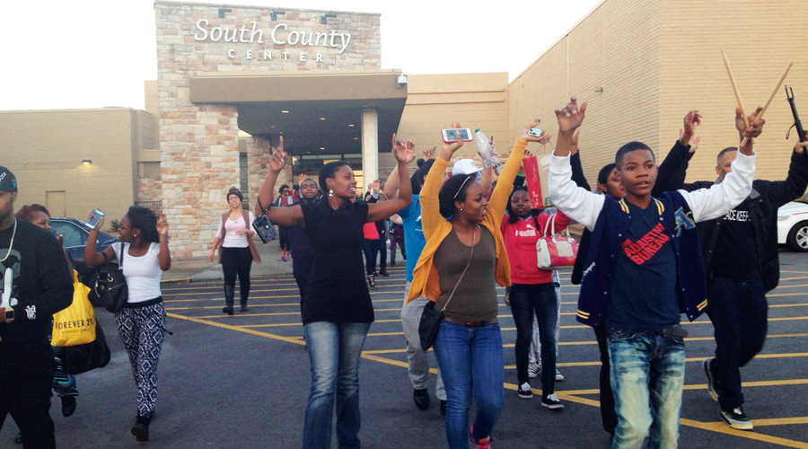 Protestors walk out of mall after shutting down stores in efforts to inflict economic pain as part of strategies to obtain justice.